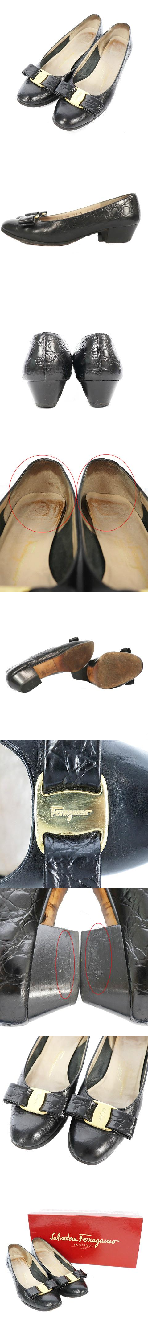 シューズ パンプス ローヒール アーモンドトゥ ヴァラリボン 型押し レザー 5 黒 ブラック /M2N