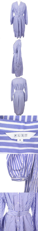 19SS ワンピース シャツ ロング ミモレ オープンネック 長袖 オーバーサイズ ストライプ M 青 ブルー /TM