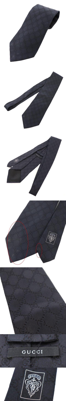 ネクタイ レギュラータイ GG柄 シルク 絹 黒 ブラック /M2O
