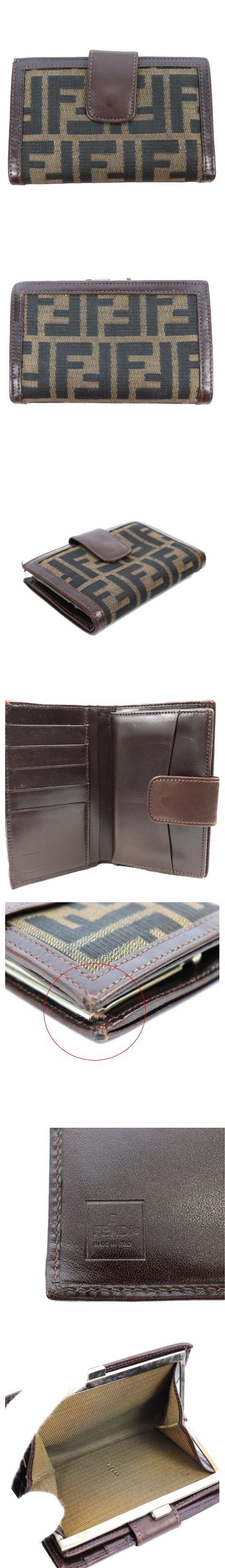 財布 二つ折り 小銭入れ ズッカ柄 がま口 レザー 茶 ブラウン /M2N