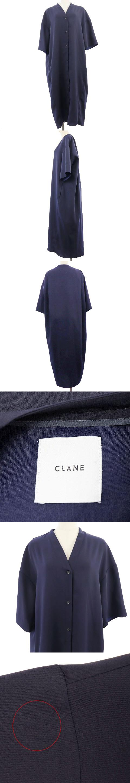 ワンピース シャツ ロング マキシ Vネック オーバーサイズ 長袖 38 紺 ネイビー /AS